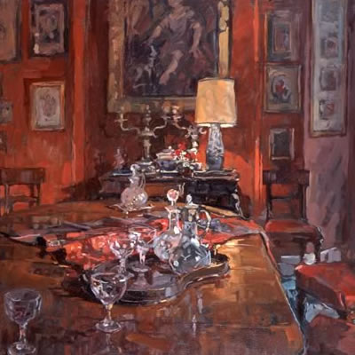 Red Dining Room with Decanters
